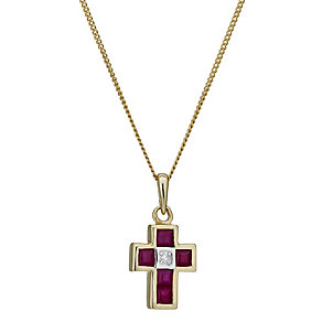 9ct gold ruby & diamond cross pendant - Product number 1711431