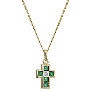 9ct gold emerald & diamond cross pendant - Product number 1711458