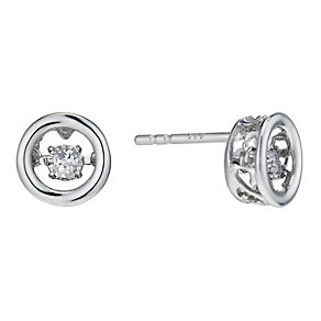 Sterling silver diamond solitaire stud earrings - Product number 1711474