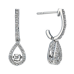Sterling silver 10 point diamond pear drop earrings - Product number 1711482