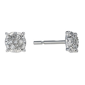 9ct white gold 10 point diamond multi stone stud earrings - Product number 1711504
