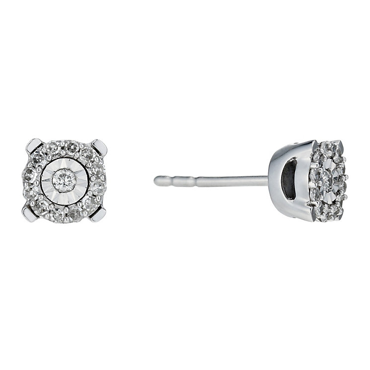 9ct white gold 10 point diamond framed stud earrings - Product number 1711539