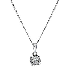 9ct white gold diamond framed illusion pendant - Product number 1711555
