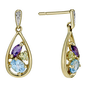 9ct gold multi coloured stone & diamond drop earrings - Product number 1711571