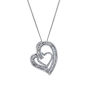 9ct white gold 0.33ct diamond double heart pendant - Product number 1711644