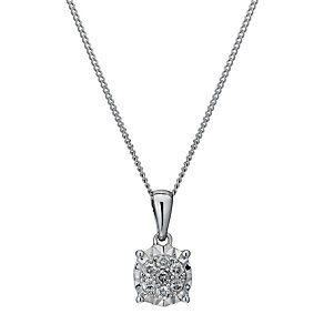 9ct white gold 10 point diamond multi stone pendant - Product number 1712233