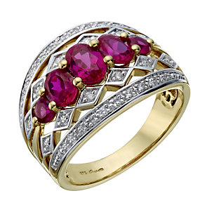 9ct gold created ruby & diamond band ring - Product number 1712438
