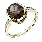 9ct gold smokey quartz & diamond ring - Product number 1712578