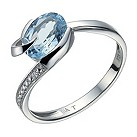 9ct white gold blue topaz & diamond ring - Product number 1712691