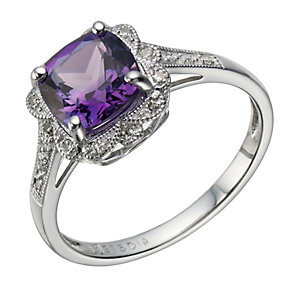 9ct white gold amethyst & diamond ring - Product number 1713337