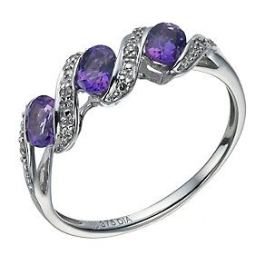 9ct white gold 3 stone amethyst & diamond ring - Product number 1713477
