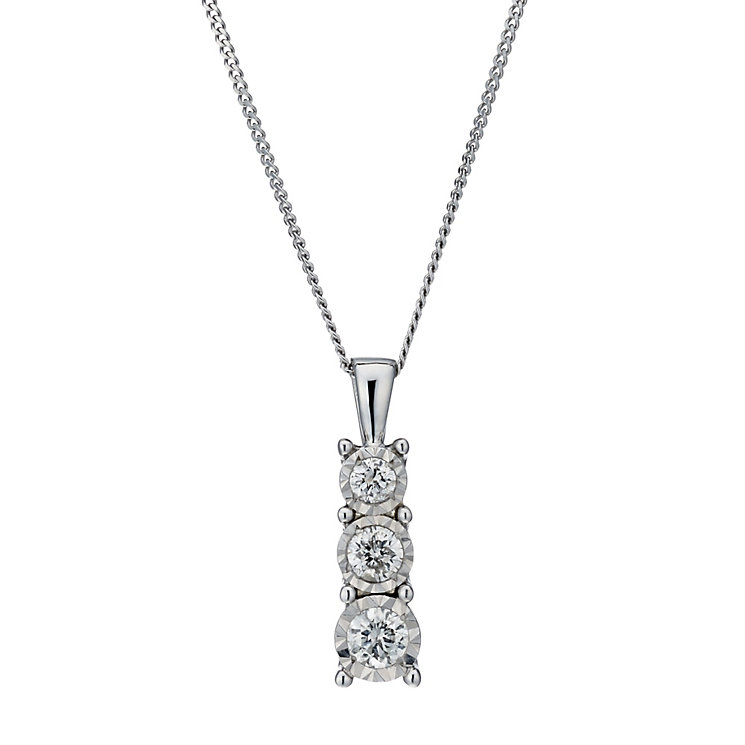 9ct white gold 0.25ct diamond illusion 3 stone pendant - Product number 1713620