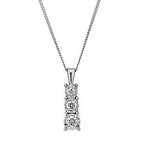 9ct white gold 0.25ct diamond illusion 3 stone pendant - Product number 1713620