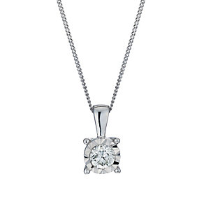 9ct white gold 30 point diamond illusion set pendant - Product number 1713647