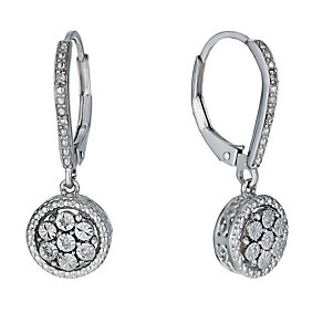 Sterling silver diamond round drop earrings - Product number 1713736