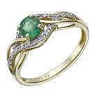 9ct gold emerald & diamond ring - Product number 1713744