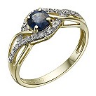 9ct gold sapphire & diamond ring - Product number 1713876