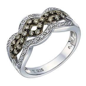 Sterling silver 30 point brown coloured & white diamond ring - Product number 1714244