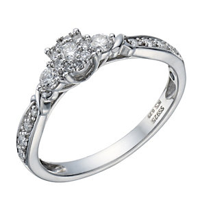Sterling silver 20 point diamond multi stone ring - Product number 1714376