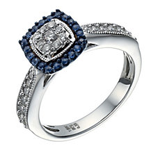 18ct white gold 1/3 carat diamond & sapphire ring - Product number 1715798