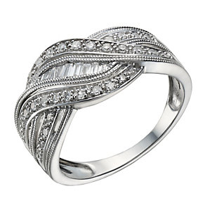 Sterling silver 0.25ct diamond wave ring - Product number 1716026