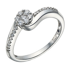 Sterling silver 0.25ct diamond ring - Product number 1716190