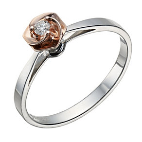 Sterling silver & 9ct rose gold diamond set ring - Product number 1716816