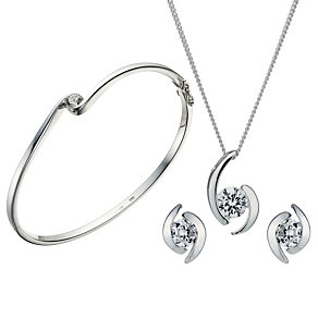 Sterling Silver Cubic Zirconia Pendant, Earrings & Bangle - Product number 1716948