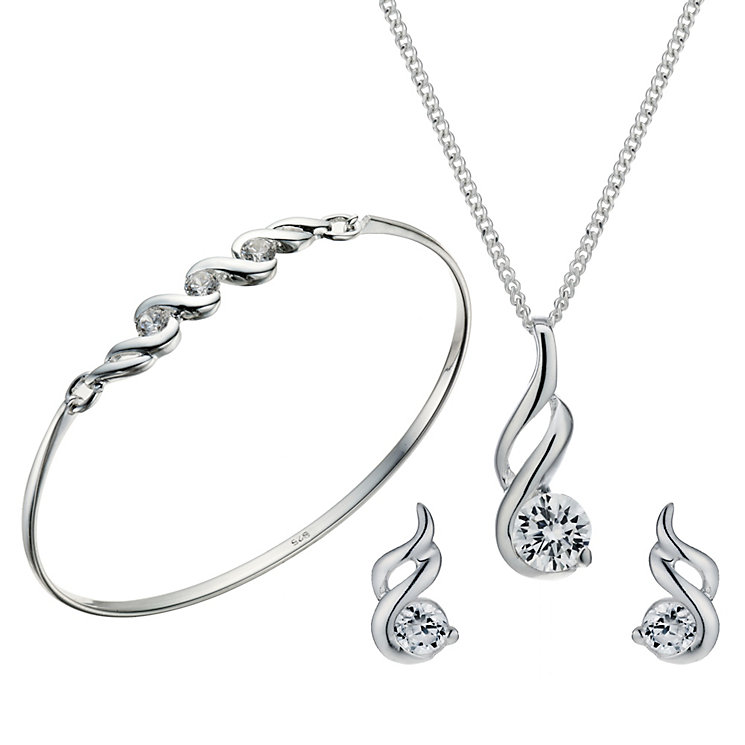 Sterling Silver Cubic Zirconia Pendant, Earrings & Bangle - Product number 1716956