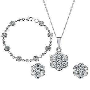 Sterling Silver Cubic Zirconia Pendant, Earrings & Bracelet - Product number 1716972