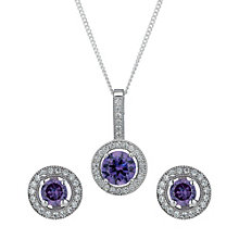 Sterling Silver Purple Cubic Zirconia Pendant & Earrings Set - Product number 1716999