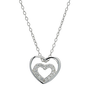 Viva Silver Cubic Zirconia Mini Double Heart Pendant - Product number 1717022