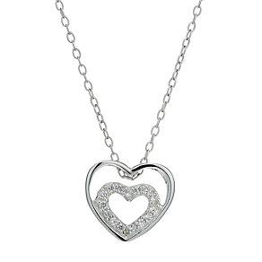Viva Silver Cubic Zirconia Mini Double Heart Pendant - Product number 1717022