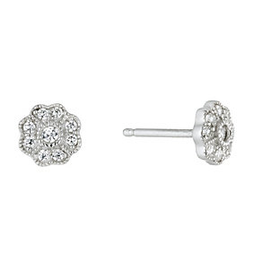 Viva Silver Cubic Zirconia Flower Stud Earrings - Product number 1717065