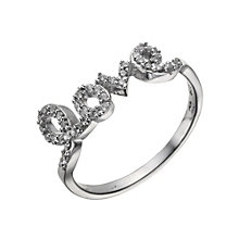 Sterling Silver Cubic Zirconia Love Ring Size L - Product number 1717103