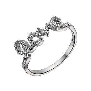 Sterling Silver Cubic Zirconia Love Ring Size P - Product number 1717138