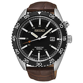 Seiko Kinetic Men's Black Dial Brown Leather Strap Watch - Product number 1717162
