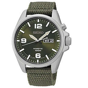 Seiko Kinetic Men's Khaki Canvas Strap Watch - Product number 1717170