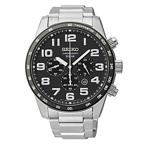Seiko Solar Men's Chronograph Stainless Steel Bracelet Watch - Product number 1717200