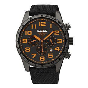 Seiko Solar Men's Chronograph Black Canvas Strap Watch - Product number 1717219