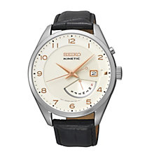 Seiko Kinetic Men's White Dial Black Leather Strap Watch - Product number 1717235