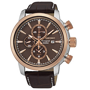 Seiko Men's Two Colour Brown Leather Strap Watch - Product number 1717251