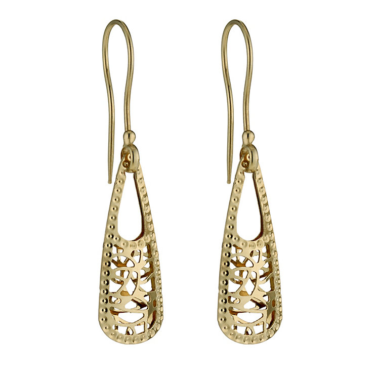 9ct gold cut out pyramid drop earrings - Product number 1717286