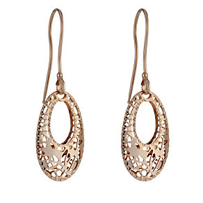 9ct rose gold cut-out oval drop earrings - Product number 1717316
