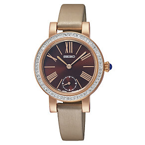 Seiko Ladies' Crystal Set Beige Leather Strap Watch - Product number 1717324