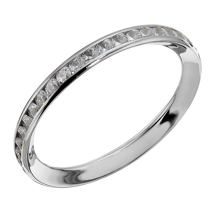 9ct white gold cubic zirconia channel set skinny ring - Product number 1718045