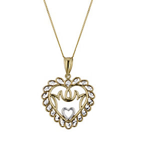 9ct Yellow Gold Mum Heart Pendant 18