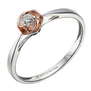 Sterling silver & 9ct rose gold 10 point diamond set ring - Product number 1718967