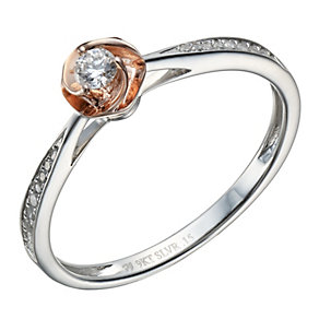 Sterling silver & 9ct rose gold 15 point diamond set ring - Product number 1719483