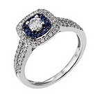 18ct white gold 1/2 carat diamond & sapphire ring - Product number 1719645